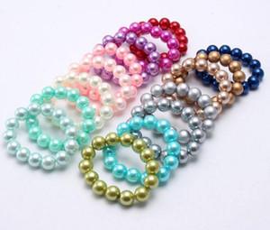 INS 16 Arten Kinder Schmuck Armband Soild Farbe ABS Perle reizend Armband niedliche Prinzessin Armband für Mädchen Schmuck Geschenk