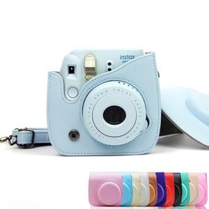 6 colors fashion simple plain cross body sling shoulder leather case camera bag for fujifilm instax mini 8