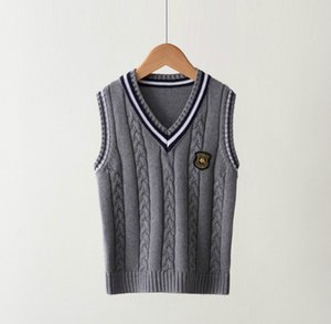 Child Sweater Vest 2020 British Styles Kids Sweaters Fashion Luxury Jumper Preppy Vest Men Women Vests Plus Size Explosion Hot Sell
