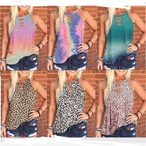T Shirt Mulheres Tie-dye Leopard Vest mangas shirt Primavera-Verão O-Neck Casual Pullover Top Girls Romewear Clothes S-3XL D61201