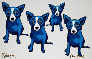 George Rodrigue Blue Dog Take All Of Me Home Decor pintado a mano de la impresión de HD pintura al óleo sobre lienzo arte de la pared de la lona representa 200117