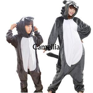 Niños adultos Kawaii Timber Wolf Onesie Unisex Animal Disfraz Suave Cálido Ropa de dormir Halloween Big Bad Wolf Party Pijama mascota