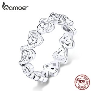 bamoer Vintage Pattern Rose Finger Rings for Women Band Genuine 925 Sterling Silver Stackable Ring Fashion Jewelry Bijoux BSR059