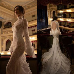 Gorgeous Castle Wedding Dresses Lace Beaded Applique Mermaid Wedding Dress Floor Length High Collar Backless Bridal Dress Robe De Mariee