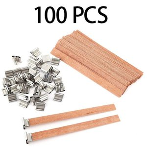 100 piezas de madera de 13 cm Mechas Vela con soporte de hierro de bricolaje naturales vela Núcleos para el Día de accesorios para velas de cumpleaños Fiesta de San Valentín