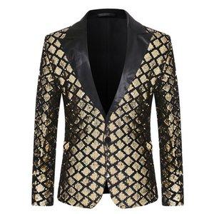Erkek Takım Elbise Blazers 2021 Tasarım Erkek Şık Trens Sequins Kraliyet Altın Siyah Desen Sahne Şarkıcılar Düğün Damat Smokin Kostüm AB Boyutu