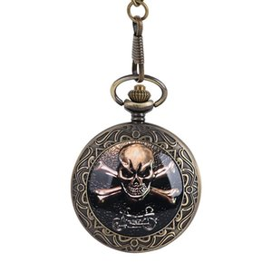Classical large thick chain skull knight pocket watch factory direct ghost head pocket watch mens man big motormible gift watch