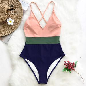CUPSHE Cruz bloque de una sola pieza del traje de baño de las mujeres con cuello en V sin respaldo remiendo Monokini 2020 chica de la playa ajustables trajes de baño Y200319 Btahing