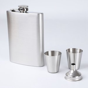 Portable 8 Oz Stainless Steel Hip Flask Pocket Drinkware Flagon Gift Package Whiskey Wine Pot With Wine Cup Funnel Liquor Jugs Other Dinnerw
