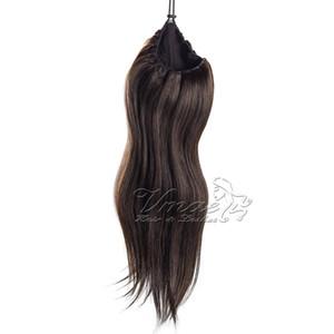 Европейского Реми волос кутикулы выравнивание Virgin Hair Real # 27 # 613 Straight хвостик 120g Natural Color Blonde НЕОБРАБОТАННОЙ расширение волос
