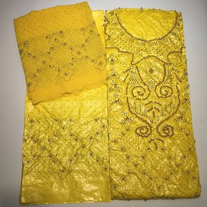2019 Unique New yellow color embroidered bazin riche getzner with tulle lace fabric African Bazin fabric for women dress ba092 T200529