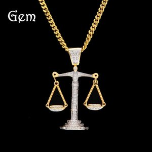 New Arrival Hip Hop Accessories Men Hiphop Balance Scales Pendant Necklaces Gold Platede Luxury Party Chains