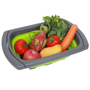Mutfak Kevgir Meyve Sebze Yıkama Sepeti Katlanabilir Süzgeç Katlanır Damlalıklı Over The Lavabo Ayarlanabilir Silikon Araçları