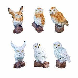6-style Mini Artificial Owl animal Miniature Fada Garden Home House Decoration Diy Craft Micro Paisagismo Decor Acessórios C19041601