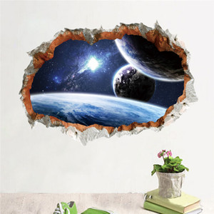 Espaço exterior do planeta adesivo de parede 3d efeito através da parede home decor galaxy mural decalques sala de estar quarto decoração