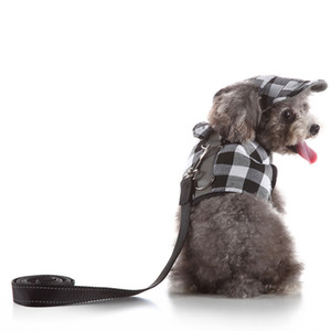 Cute Plaid Dog Princess Tutu Dress Skirt Dog Clothes small Pet Cat Harness Vest and Leash Collar Leads With Hat