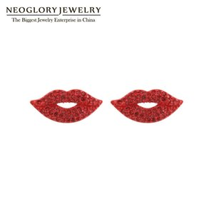 Orelhas Estilo Neoglory Anti Allergy Sexy Red Lip cristal brincos para mulheres natal na moda Acessório Presente para Namorada