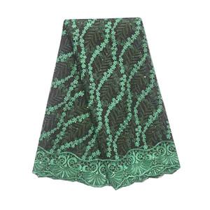 African Französisch Spitze 2019 Grün Lila Cord-Spitze-Gewebe 5Yards Qualitäts-Hochzeit Afrikanische Gewebe-Spitze für Kleid Material