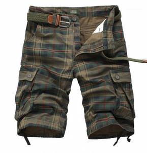 Shorts soltos Moda Pants Relaxado New Calça Casual Camouflage Mens Verão cordão Multipocket da manta dos homens do desenhista