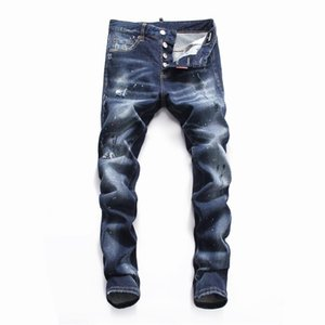 Mens luxury Italian Designer Jeans Ripped Holes Pencil Pants Slim Motorcycle Long Trousers Hommes Designer Pants