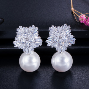 2019 New Brand Fashion Advanced Earrings White Crystal Snowflake Pendant Pearl Four Can Choose For Women Beautiful Earrings Gift