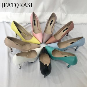 Women High Heels Summer Pointed PU Leather Upper Thin Heel Colorful Basic Female Pumps Fashion Ladies Work Shoes 2020 New