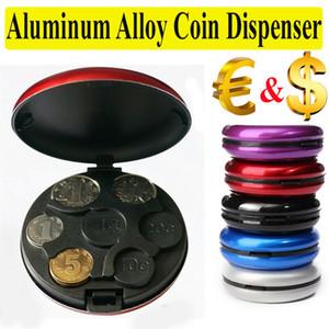 Portátil de armazenamento caso coleção Dollar Euro Display Organizador Dispenser Carteira Coin Box Container liga de alumínio redonda Dinheiro