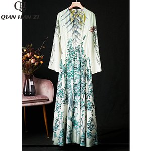 Qian Han Zi 2020 Verão designer de moda pista Maxi vestido da Mulher Manga Vintage Imprimir Marca Silk Praia vestido longo