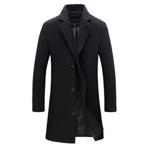 2018 Moda erkek Yün Ceket Kış Sıcak Katı Renk Uzun Trençkot Erkek Erkek Göğüslü Iş Rahat Palto Parka T190905