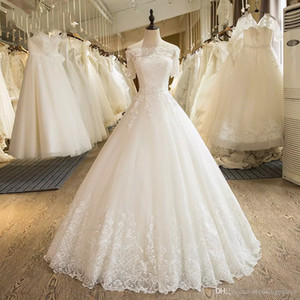 2018 Newest Hot Sale Half Sleeve A-line Wedding Dresses Floor-length Lace up Back Lace Satin Bridal Wedding Gowns