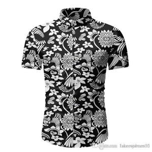 Desinger Erkek Yaz Plaj Tshirts Yeni 2020 Kısa Kollu Yaka Boyun Çiçek Moda Stil Gündelik Giyim yazdır