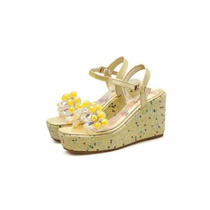 Yellow Sandals 9cm Heel Wedges Sandals Summer Beaded Rhinestone Heels Women Platform Heels Sandales Femme lll