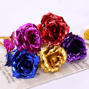 Creative Craft Foil Valentine Rose Girl Favor Colorful Plating Golden Flower Wedding Party Decor Gift Artificial Flowers DH0667 T03