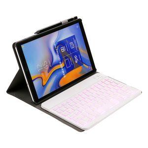 Magnetischer PU-Leder-Kasten mit 7 Farben Backlit Abnehmbarer Bluetooth Tastatur für Samsung Galaxy Tab 10.1 A 2019 T510 T515 Tablet
