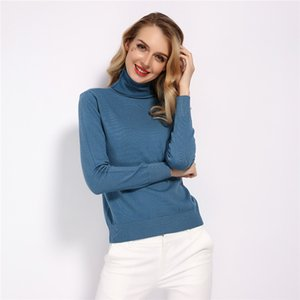 delle GCAROL nuove donne 30% lana maglione dolcevita Autunno Inverno Jumper Render Knit Basic Pullover solido di colore della signora Knitted Tops