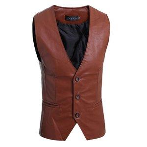 ZOGAA 남성 슬림 조끼 민소매 자켓 캐주얼 PU 가죽 조끼 단추 오픈 V 넥 긱 단순 조커 Slim Fit Vest Men