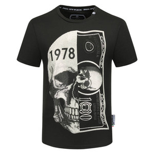 2020New PP Mens Designer T shirt Luxury Paris fashion Tshirts Summer Punk Rhinestone Skull T-shirt Male Top Quality 100% Cotton Hip Hop Tee