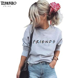 Friends Letter Print Harajuku Winter Women T Shirt Knitted Long Sleeve O Neck Sweater Polyester Pullover Tops Shirt Pullovers