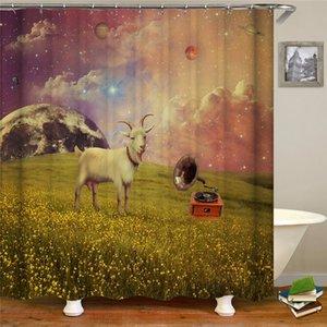 High quality shower curtain furniture supplies digital printing 3D simulation animal sheep deer pattern shower curtain tarpaulin