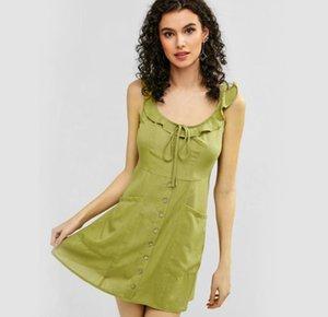 2019 الجيش خمر الخضراء فستان الشمس المرأة الصيف الكشكشة اللباس جنسي اللباس الرافعة ميدي زر عارية الذراعين شاطئ ألف خط اللباس أنثى