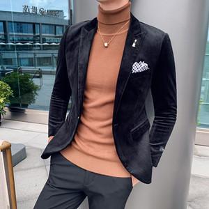 Gzdeerax pana chaqueta para hombre de lujo ocasional sólida de color Slim Fit Prom Blazers invierno de los hombres solo pecho masculino Partido Blazer