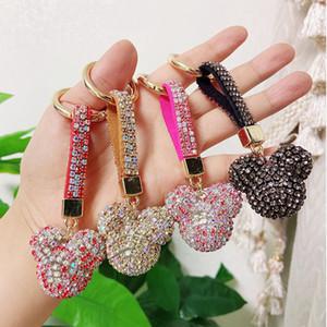 colores caramelo de la manera linda imitación de diamantes de la cadena borla de la llave penden bolsa colgante llavero creativa muchacha de la vendimia