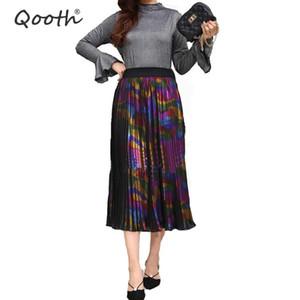Qooth Girls Fashion Skirt Striped Colorido Cintura Elástica Falda Plisada 2019 Primavera Verano Maxi Largo Mujer QH1770