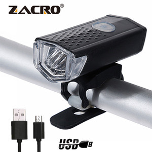 Zacro recargable luz de la bici de 300 lúmenes 3 modos de la linterna de la bici 6000K bicicletas Linterna Dynamo luz delantera Luces T191116