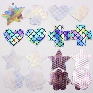Geometrische Frauen unsichtbaren Multi-geformte Einweg Laser Nippel-Abdeckung Self Adhesive Brust-Blumenblatt-Pastete-Aufkleber Pad