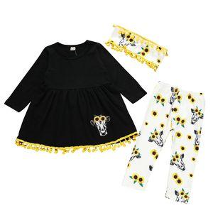 European Style Baby Girl Outfit Tassel Dress+Fringed Headband + Sunflower Print Pants Spring Autumn Clothing Sets 3pcs set LA243