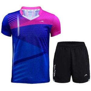 2019 yaz badminton giyim spor kısa kollu erkek ve kadınların çabuk kuruyan rekabet antrenman takım elbise badminton giyim özel baskı uyacak