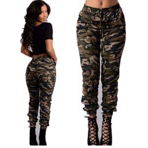 Женская Camo Карго Брюки повседневные брюки Army Combat камуфляжные штаны Сыпучие Jogger Брюки женские Sweatpants
