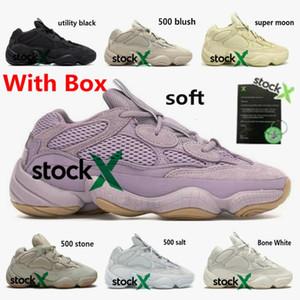 2020 Kanye 500 vision douce Hommes Femmes Chaussures de course pierre blanche os Sneakers blush sel DESERT RAT noir utilitaire sport avec boîte Formateurs