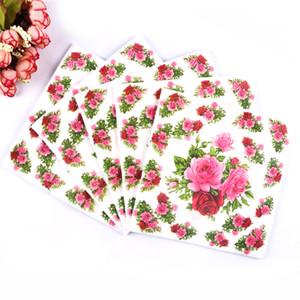 빈티지 녹색 분홍색 테이블 냅킨 종이 티슈 인쇄 꽃 servilletas decoupage 결혼 생일 파티 용품 100pcs